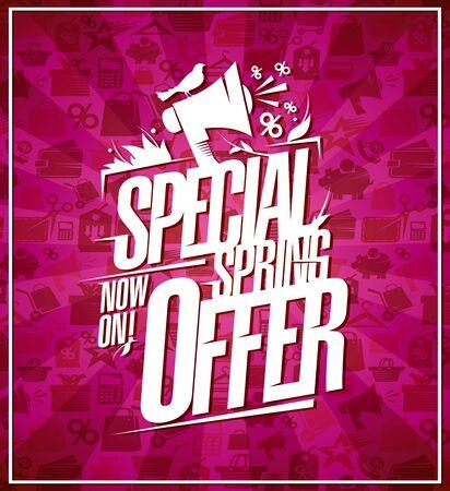 Special spring offer, lettering sale poster design