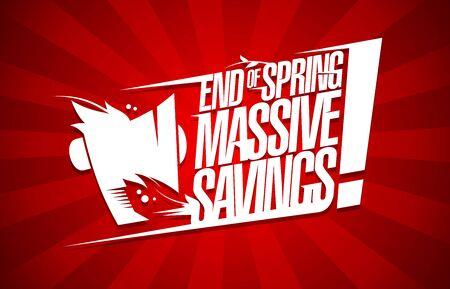 Concepto de diseño de carteles de venta de ahorros masivos de fin de primavera Ilustración de vector
