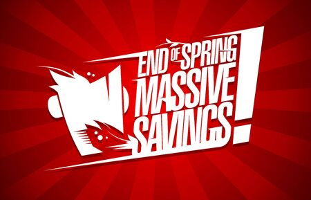 End of spring massive savings sale poster design concept Ilustração Vetorial