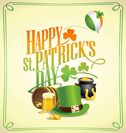 Happy Patricks Day postcard design with classic holiday symbols