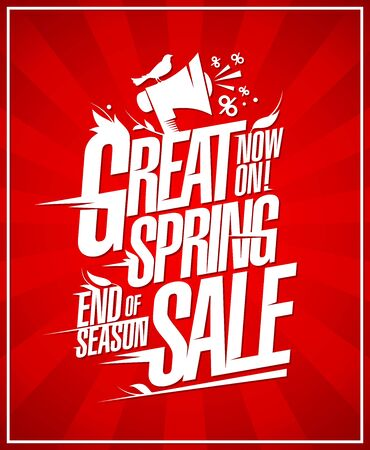 Great spring sale, end of season sale discounts banner lettering template