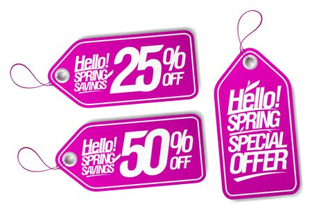 Hello spring tags set - special offer, spring savings 25% off, 50% off