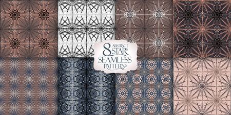 8 seamless patterns with geometric ornaments, vector backgrounds collection, calm beige,brown and gray colors