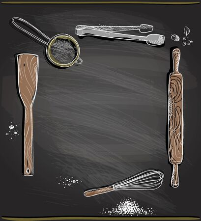 Chalkboard background with kitchen utensils as a frame, empty space for text, vector illustration