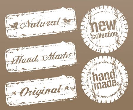 Natural style stamps set - hand made, original, new collection, etc. Stock Illustratie
