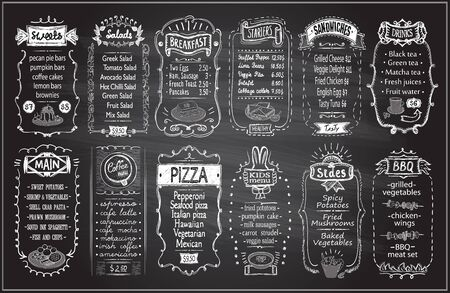 Chalk menu set on a blackboard - sweets, salads, breakfast, starters, drinks, main dishes, kids menu, sides, etc.