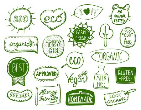 Set of doodle hand drawn eco symbols - bio, eco, organic, vegan, milk free, nut free, approved, homemade, egg free, best product, allergy friendly, try me, farm fresh, no animal tested