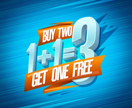 Buy two get one free sale poster, 1+1=3 lettering 向量圖像