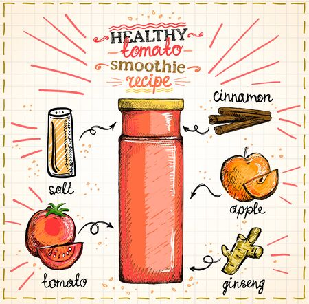 Healthy tomato smoothie recipe on a notepad sheet, veggie cocktail menu with tomato, apple, ginseng and cinnamon, vegetables set sketch hand drawn graphic illustration Vector Illustratie