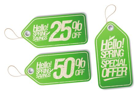Vector tags set - hello spring, special offer, spring savings 25% off, 50% off