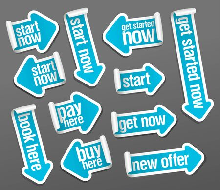 Start now, get started now, pay here, buy here, new offer, book here, get now - vector stickers set in form of arrows.