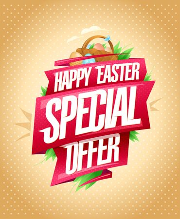 Happy Easter special offer, sale poster holiday design with ribbons and basket contains colored eggs
