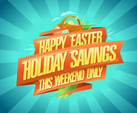 Happy Easter sale banner, holiday savings this weekend only