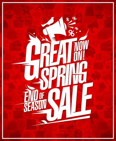 Great spring sale, end of season, sale discounts vector poster  イラスト・ベクター素材