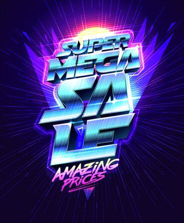 Super mega sale, amazing prices - vector poster design