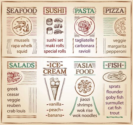 Cafe menu list with seafood, sushi, pasta, pizza, salads, ice-cream, asia food and fish dish, hand drawn graphic sketch illustration, old style on a paper