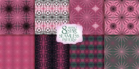 Seamless patterns set with geometric ornaments, vector backgrounds collection