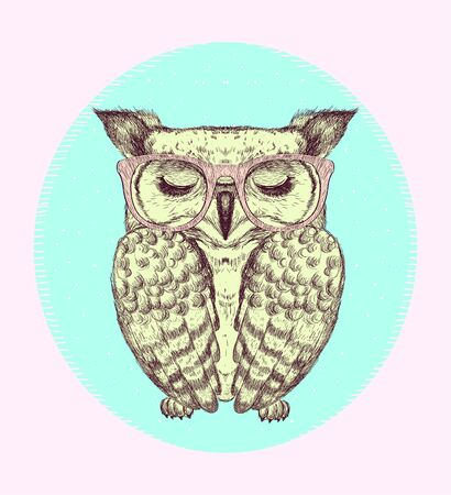 Emblem with owl dressed in glasses, hand drawn graphic vector illustration