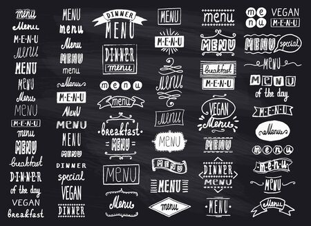 Chalk menu headlines, handwriting lettering graphic set on a chalkboard, vintage style Vecteurs