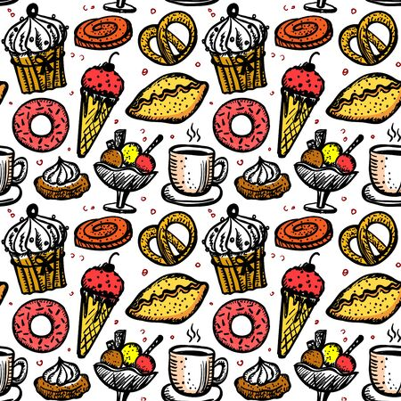 Pastry sweets seamless pattern, cute hand drawn sketch food symbols, vintage style Vectores