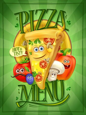 Pizza menu cover with cartoon personages - pizza slice and vegetables, kids menu template