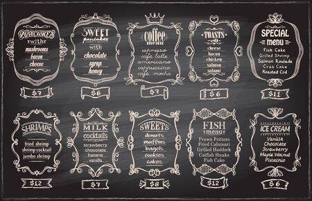 Chalk menu set with antique frames on a blackboard - pancakes, coffee menu, toasts, special menu, shrimps, milk cocktails, sweets, fish menu, ice cream, etc.