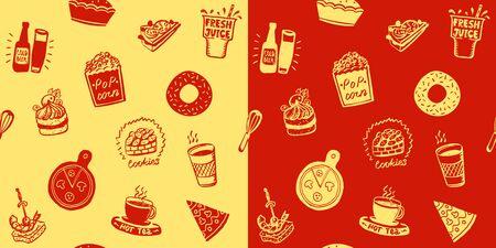 Fast food seamless patterns set, doodle style hand drawn food symbols - donut, popcorn, pizza, tea, fresh juice, cake, beer, cookies and sandwich symbols 일러스트