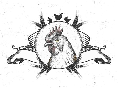 Hen emblem design, trade symbol with bird head in circle, vintage style ribbons and wheat ears