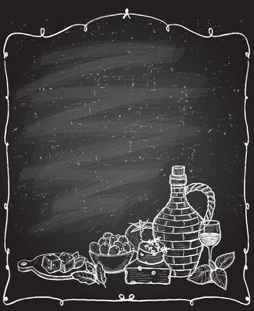 Chalkboard frame with mediterranean traditional food ingredients - olives, bottle of wine, vegetables, cheese and herbs. Hand drawn graphic vector illustration, empty space for text