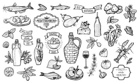 Mediterranean traditional food collection, graphic vector illustration, European food ingredients - olive oil, vegetables, cheese, herbs and seafood. Labels and lettering ribbons included Stock Illustratie