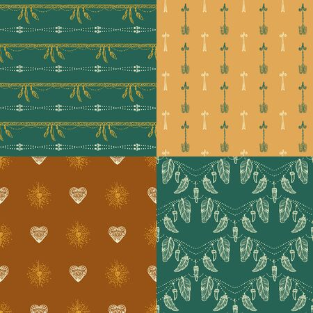 Ethnic native ornamental seamless patterns set with feather amulets, hearts, arrows, etc. Hand drawn vector backgrounds