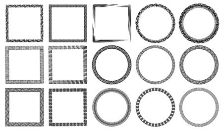 Authentic black and white hand drawn graphic frames collection decorated animal prints, waves, ancient drawings