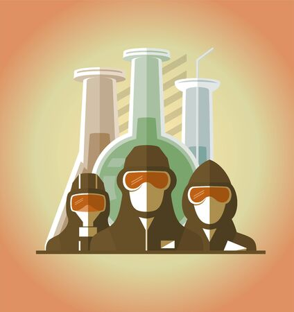 Scientists, lifeguards, doctors, builders dressed in protective suits and masks, map of the earth and test tubes on a backdrop. Scientific chemically medical concept poster