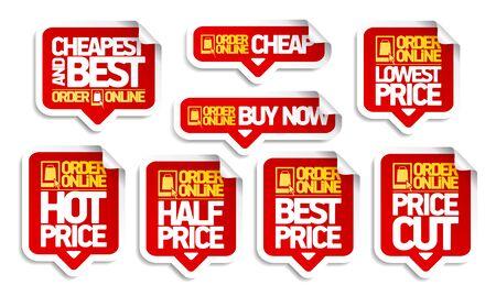 Commandez un ensemble d'autocollants d'étiquettes de prix en ligne - le moins cher et le meilleur, achetez maintenant, baissez le prix et le meilleur prix, etc.