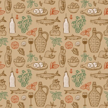 Seamless pattern design with mediterranean traditional food - olive oil, vegetables, cheese, herbs and seafood. Graphic vector illustration. Stock Illustratie