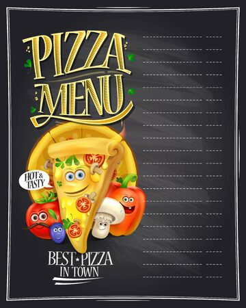 Pizza menu display on a chalkboard with cartoon personages - alive pizza slice and vegetables, empty space for text Illustration