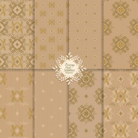 Seamless elegant damask patterns set, vector floral ornate seamless backgrounds Vectores