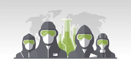 Vector poster with scientists, chemists and pharmacists dressed in protective suits and masks, map of the earth and test tubes on a backdrop. Scientific chemically medical concept poster Ilustracja