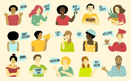 Group of joyful multiethnic people, flat vector illustration with collection of mens and womens with speech bubbles telling - welcome, hi, go green, etc.
