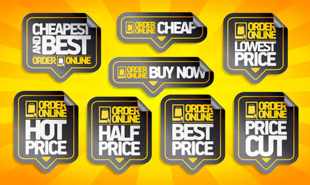 Order online price tags stickers set - cheapest and best, buy now, price cut and lowest price etc.