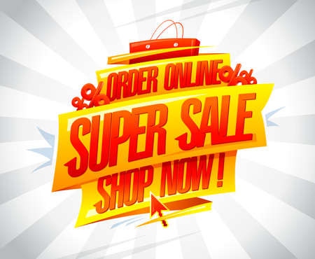 Order online, super sale, shop now - vector banner with shopping paper bag and percents Illustration