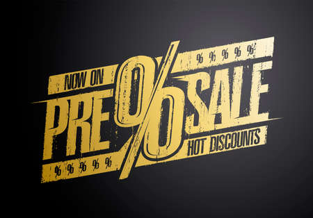 Pre sale rubber stamp imprint, hot discounts now on, vector banner concept
