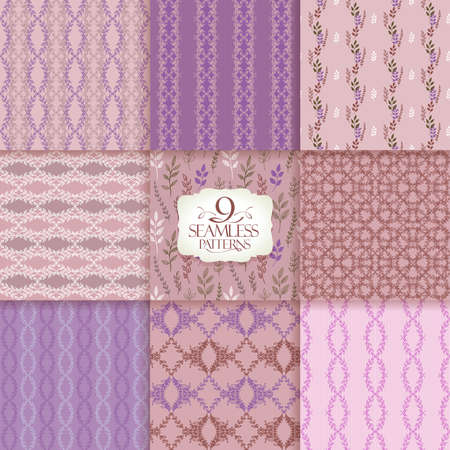 Ornate patterns set, vector seamless natural backgrounds with leaves Çizim
