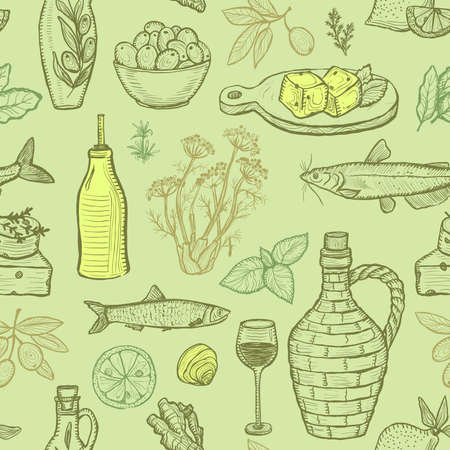 Seamless pattern with mediterranean traditional food - olive oil, vegetables, cheese, herbs and seafood - graphic vector illustration