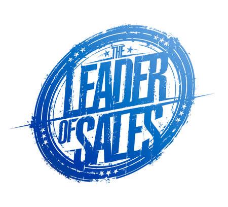 Leader of sales rubber stamp, vector imprint