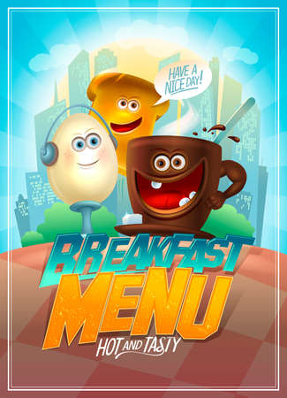 Breakfast menu card design template with funny food personages - egg, toast and cup of coffee