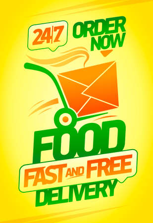 Fast and free food delivery vector banner with fast box, 24/7 delivery poster 일러스트