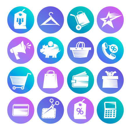 Set of web apps icons and symbols for online shopping, savings, business, banking and finance and communication, flat style