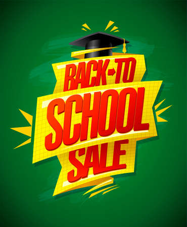 Back to school sale vector poster design against green chalkboard with graduation cap and golden ribbon Illustration