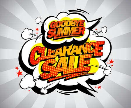 Good bye summer sale vector poster, pop-art style Archivio Fotografico - 152233901